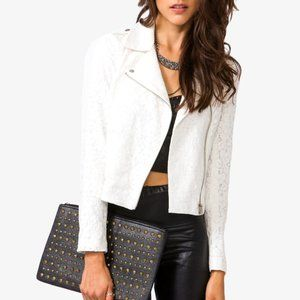 FOREVER21 Contemporary Lace Moto Jacket